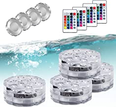 Submersible Pool Lights Led Lights with 4 Deep Water Cover,Waterproof Remote Controlled Color Change Waterproof Lights for...