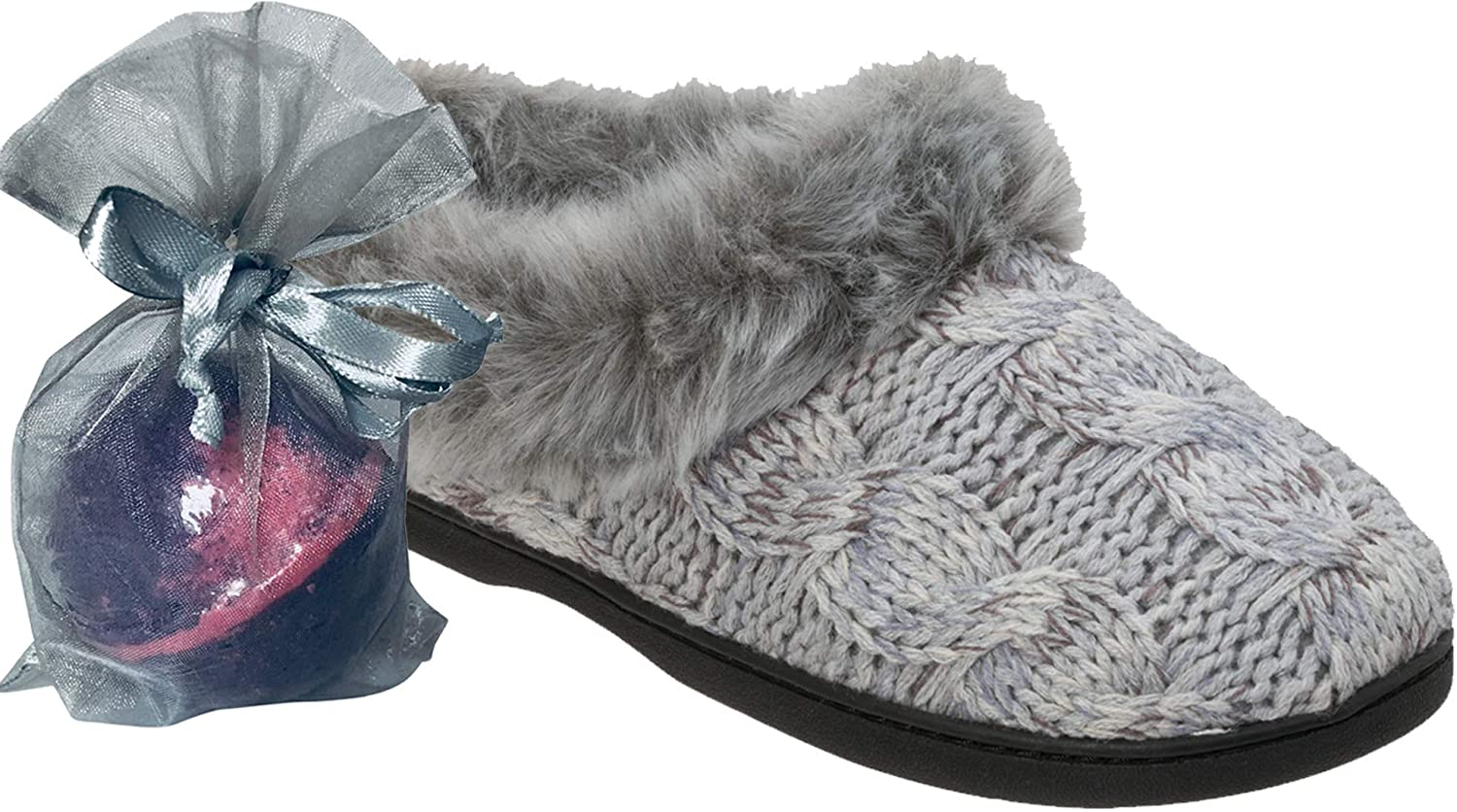 Jennjuli Women's Slippers Space-dye Cable Knit Clog Slip On with Extra-Soft Memory Foam Cushioning & Comfort for Indoors & Out by Dearfoams