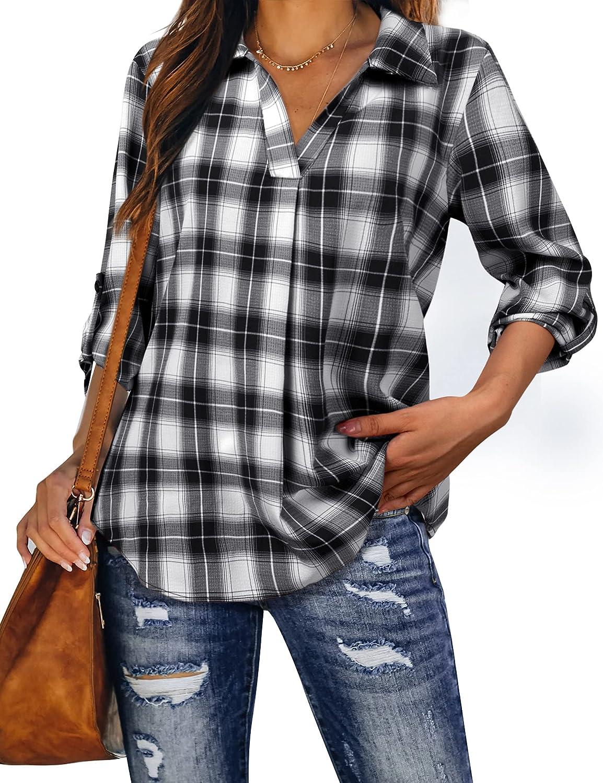 MCKOL Women's Roll Up 3/4 Sleeve Plaid Shirt Causal V Neck Tunic Blouses Tops