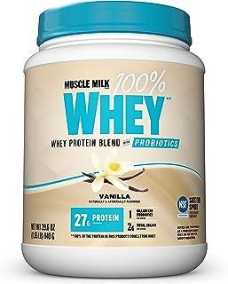Sponsored Ad - Muscle Milk 100% Whey Powder Blend with Probiotics, Vanilla, 27g Protein, 1.85 Pound