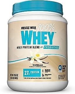 Muscle Milk 100% Whey Powder Blend with Probiotics, Vanilla, 1.85 Pound