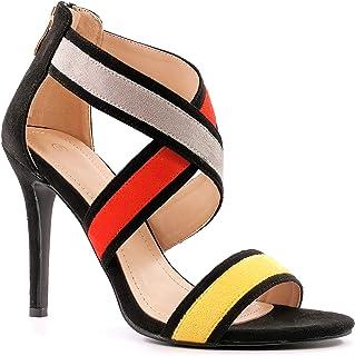 Angkorly - Chaussure Mode Escarpin Sandale Glamour Chic élégant Femme Lanières croisées Multi-Couleurs Fermeture Zip Talon...