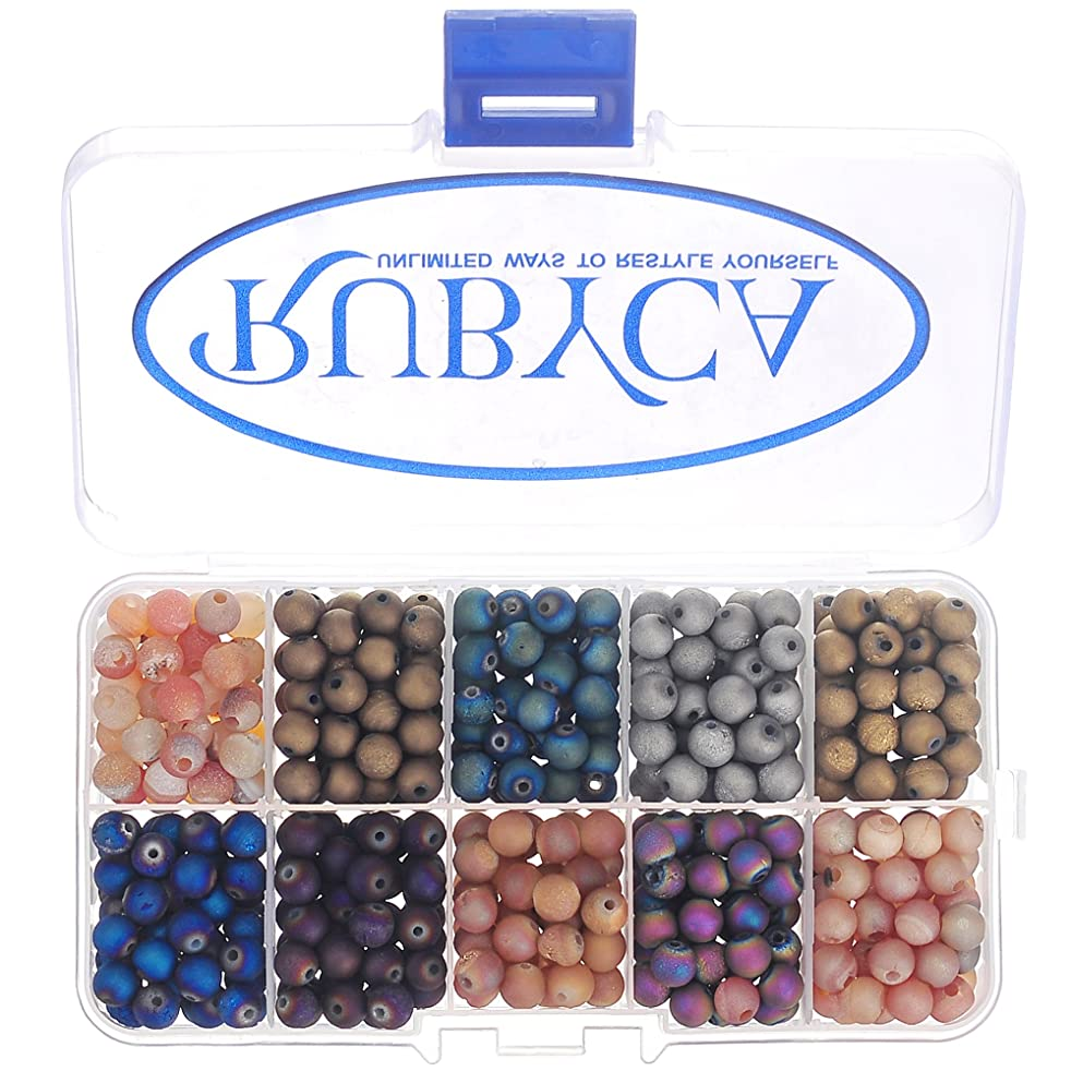 RUBYCA Round Electroplated Druzy Agate Quartz Gemstone Loose Beads Organizer Box (Mixed Colors, 8mm)