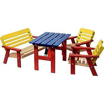 dobar Kindersitzgarnitur mit Kindertisch Kindersitzbank und zweimal Kinderstuhl mehrfarbig