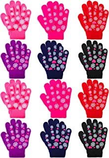 Coobey 12 Pairs Kids Warm Magic Gloves Teens Winter Stretchy Knit Gloves Boys Girls Knit Gloves