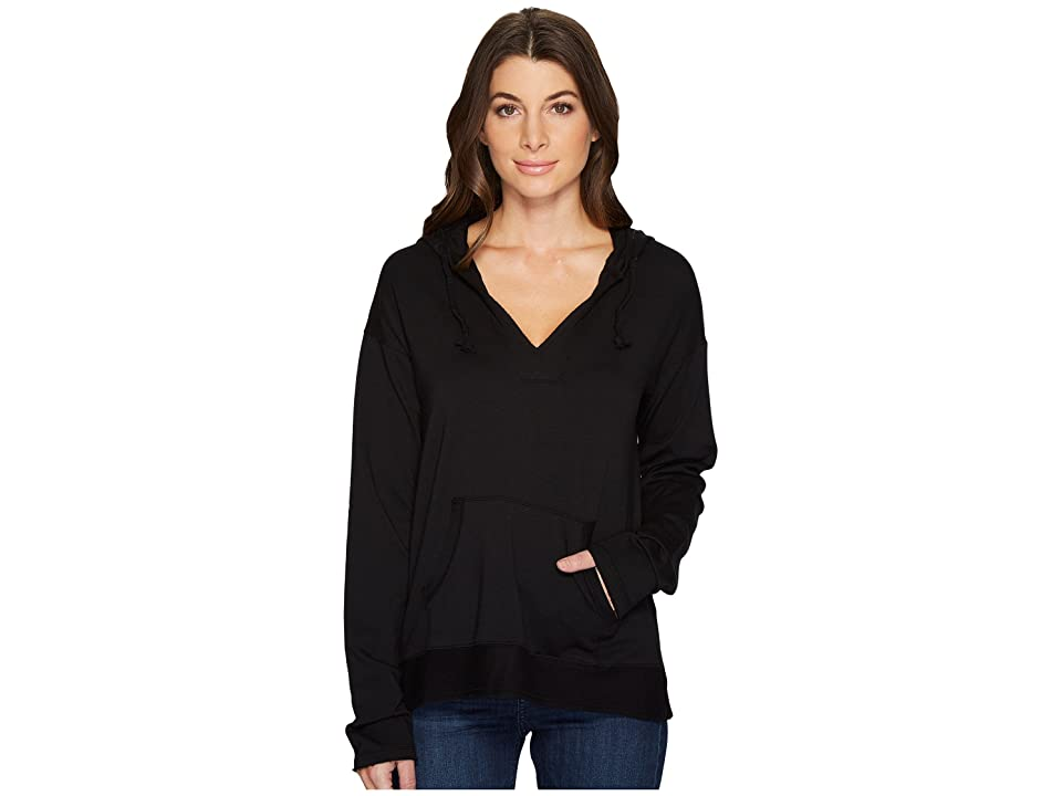 Mod-o-doc Cotton Modal Spandex French Terry Drop Shoulder Pullover Hoodie (Black) Women