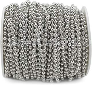 CleverDelights Ball Chain - 25 Feet - 3.2mm Ball - Platinum (Antique Silver) Color
