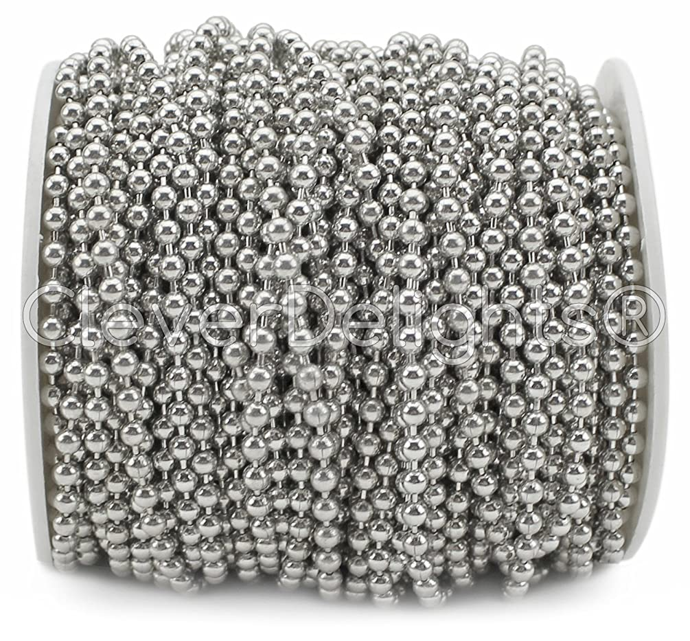 CleverDelights Ball Chain Spool - 30 Feet - 3.2mm Ball - Antique Silver (Platinum) Color - #6 Size