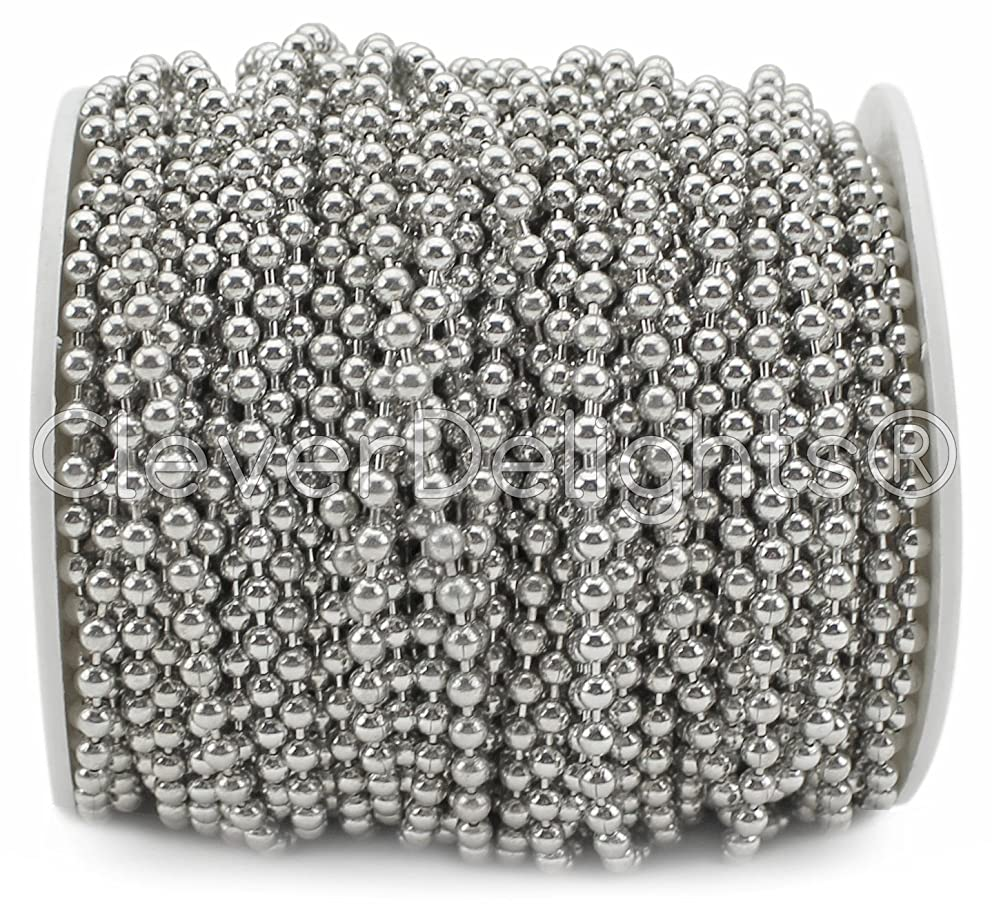 CleverDelights Ball Chain Spool - 100 Feet - 3.2mm Ball (#6 Size) - Antique Silver (Platinum) - 30 Meters