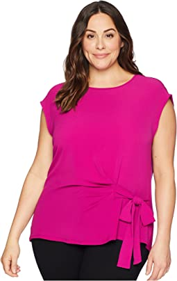Plus Size Short Sleeve Mix Media Tie Front Blouse