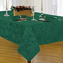 Newbridge Christmas Carol Damask No Iron Soil Release Holiday Tablecloth, 60 x 120 Inch Oblong, Hunter