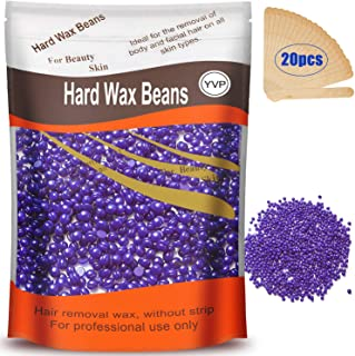 Hard Wax Beans for Painless Hair Removal, Brazilian Waxing for Face, Eyebrow, Back, Chest, Bikini Areas, Legs At Home 300g (10 Oz)/bag with 20pcs Wax Spatulas(Lavander)