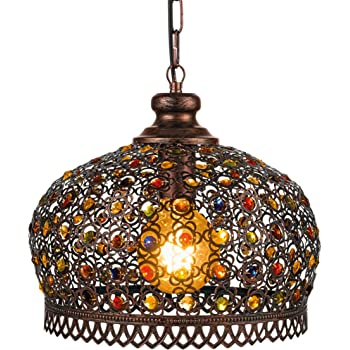 Eglo Jadidas Pendant Light 1 Bulb Vintage Oriental Steel Pendant Light In Copper Antique And Colourful Glass Dining Table Lamp Living Room Lamp Hanging With E27 Socket Diameter 33 Cm Amazon De Beleuchtung