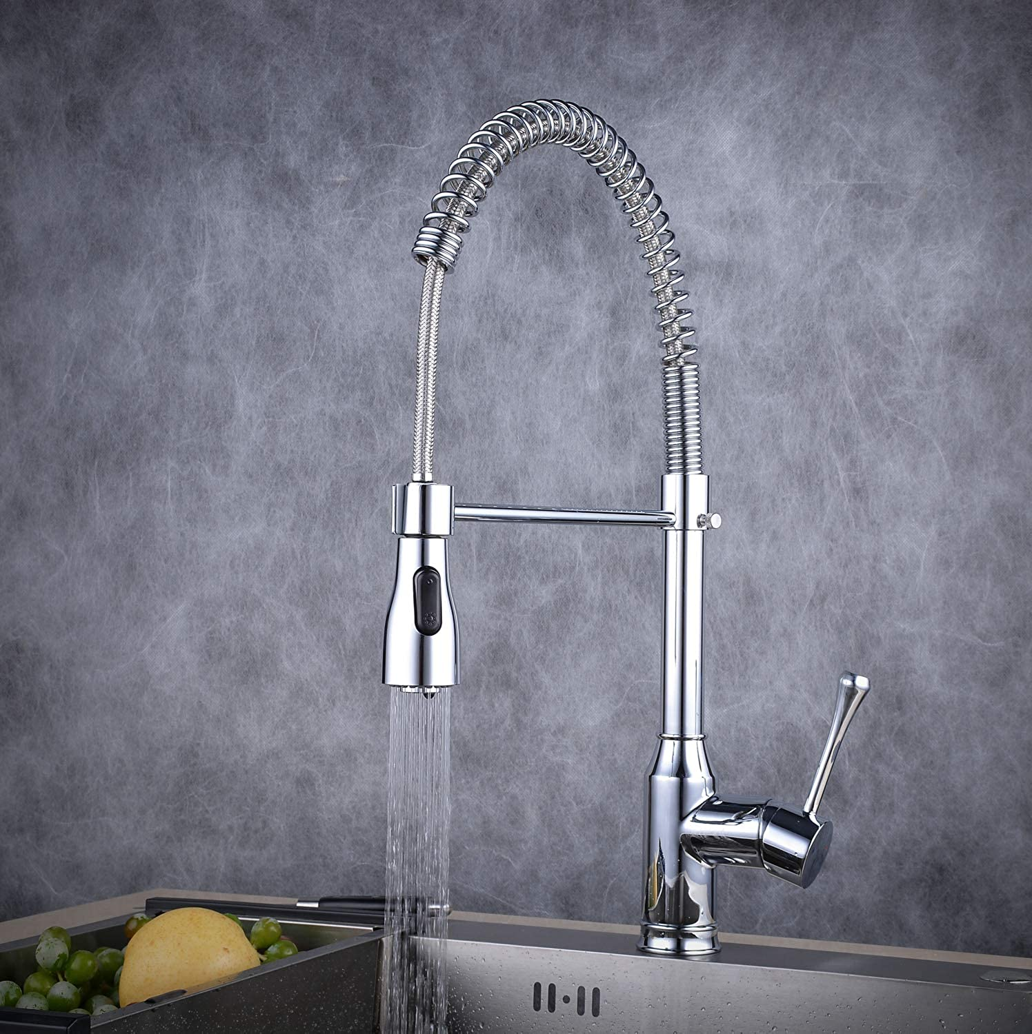 Professional High Arc Kitchen Tap with Swivel Spout,Monobloc Tap with Pull Down Dual Functional Nozzle, Beelee,BL7089