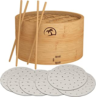 DEALZNDEALZ 3-Piece Bamboo Steamer Basket with Lid 10-inch 2-Tier, 50 Perforated Bamboo Steamer Liners with 2-Pairs of Bam...