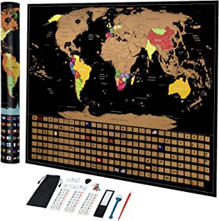 Chalpr Scratch Off Map of The World, 17x24 Travel World Map with Country Flags Includes Scratch Art Tools, Magnifier and Memory Stickers, Tracks Your Adventures, Perfect Gift for Travelers