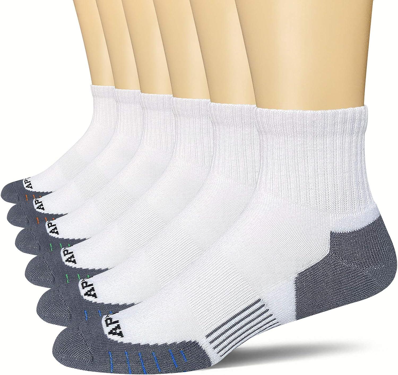 APTYID Men's Quarter Performance Athletic Cushion Running Socks (6 Pack)