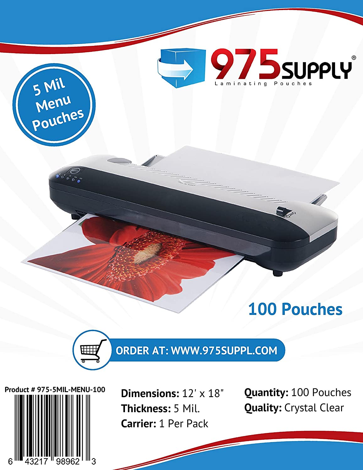 975 Supply - 5 Mil Clear Menu Size Thermal Laminating Pouches - 12