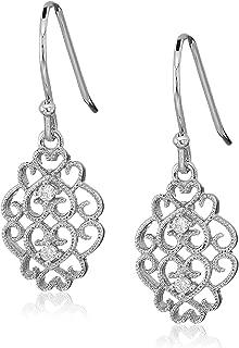 925 Sterling Silver AAA Cubic Zirconia Filigree Drop Dangle Earrings