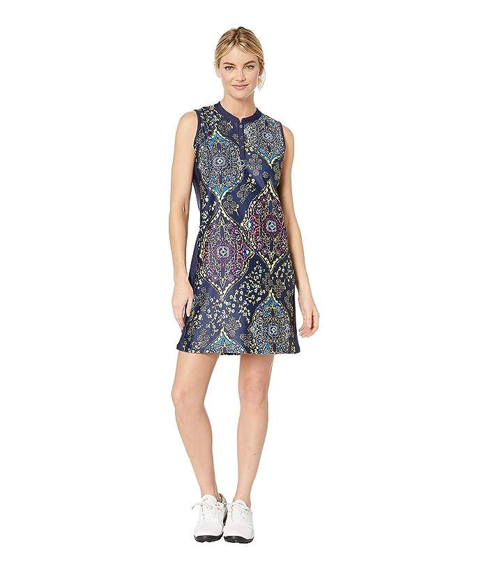 Tribal Printed Stretch Knit Golf Dress w/ Shorts (Citron) Women