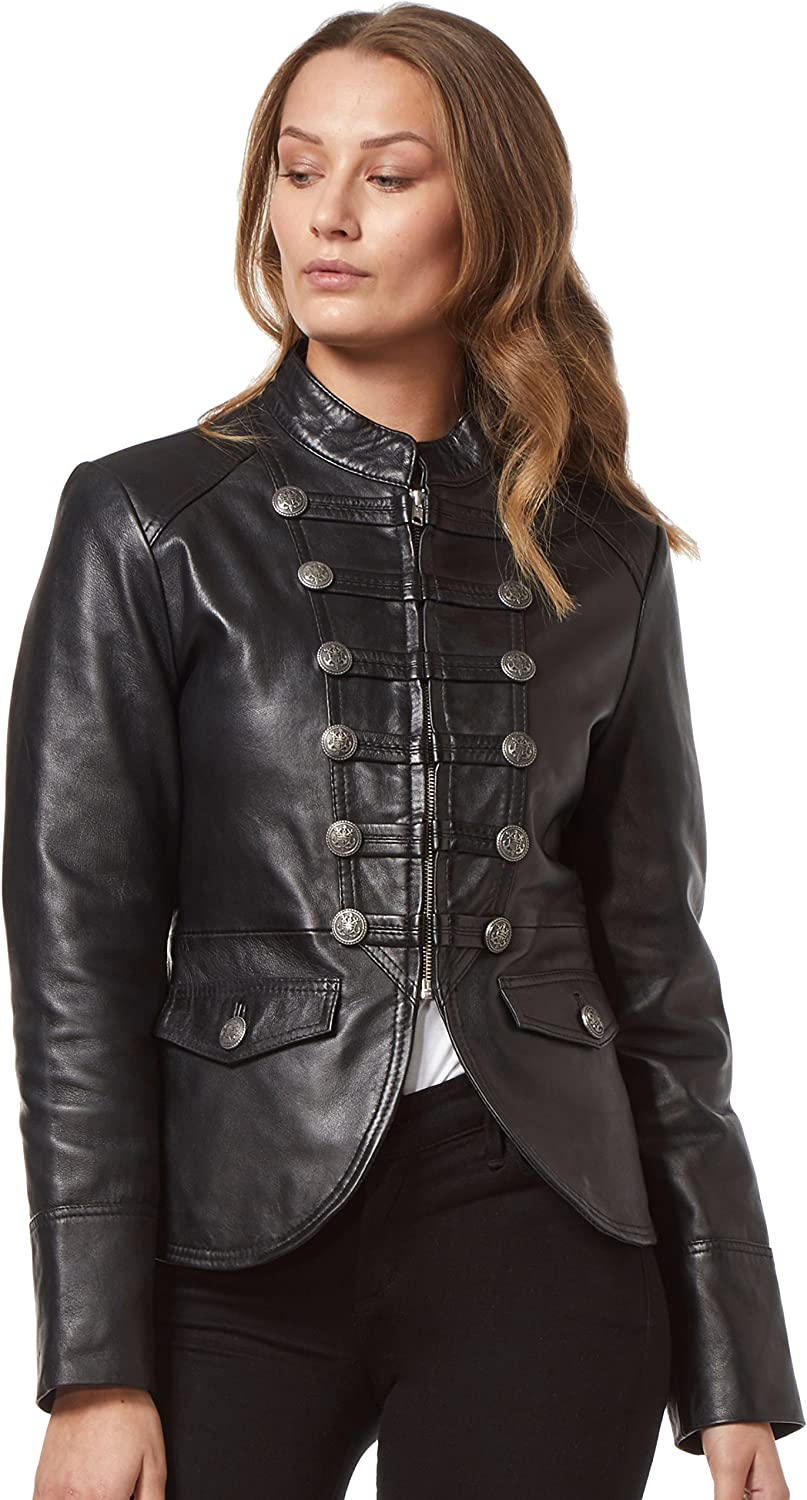 Carrie CH Hoxton 'Military' Style Ladies Black Parade Style Fashion Soft 100% Real Napa Leather Jacket 8976