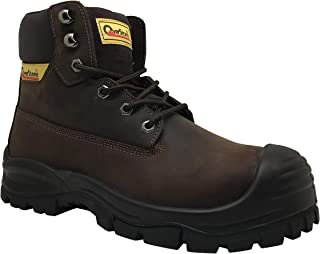 Men's 6 Inch Leather Work Boots, Steal Toe, Anti-Static, Puncture Resistant Protection, Safety Leather Shoes, Industrial and Construction Work Boots