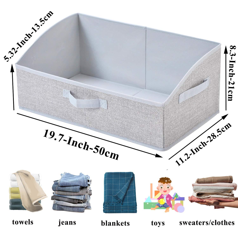 19.7 x 11.2 x 8.3/'/' ,Fabric Closet Organizer Shelf Box Bins with Handle,Home Office Storage Baskets 3-Pack Sami Time Decorative Trapezoid Storage Bin Boxes for Shelves