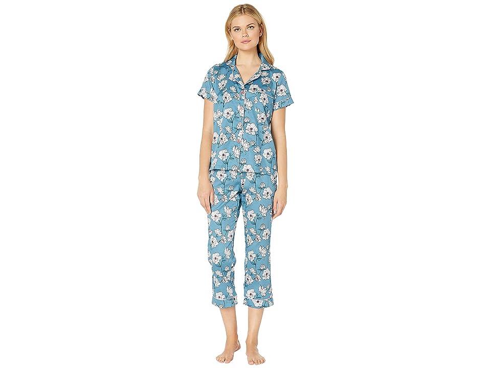 BedHead Pajamas Short Sleeve Cropped Pajama Set (Peonies) Women