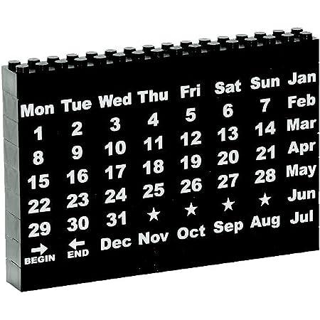 モノトーン ブロック 万年 カレンダー (祝日対応) ブラック