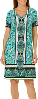 London Times Womens Clover Floral Scarf V-Neck Short Dress