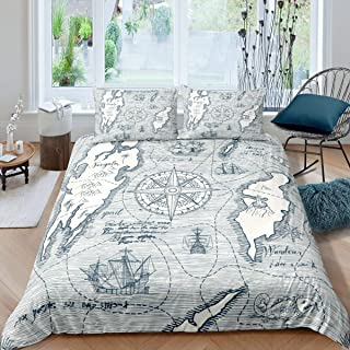Historic Old Atlas Print World Map Quilted Coverlet /& Pillow Shams Set