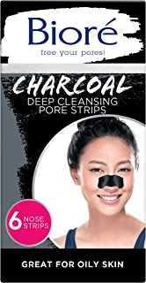 Bioré Charcoal, Deep Cleansing Pore Strips, Nose Strips for Blackhead Removal on Oily Skin, with Instant Blackhead Removal...
