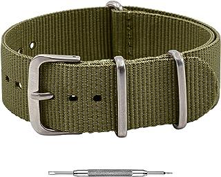 Benchmark Straps NATO Watch Band – Ballistic Nylon Strap - 18mm, 20mm, 22mm & 24mm - Multiple Colors