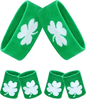 SATINIOR Unisex Sports Sweatband Set, 4 Pieces Green Wristbands and 2 Pieces Sports Headbands