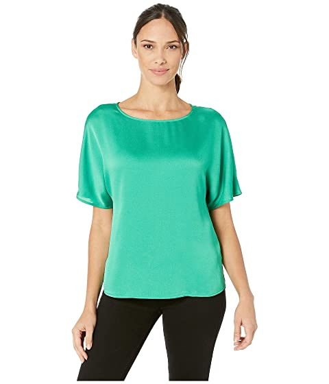 3bb0b1e3918 Vince Camuto Short Sleeve Pleated Back Hammer Satin Blouse at Zappos.com