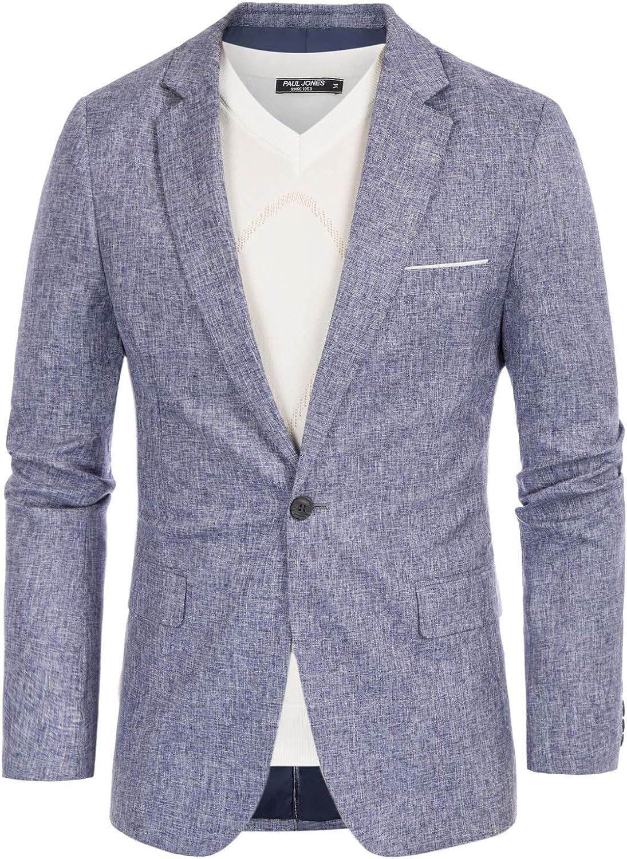 PJ PAUL JONES Men's Casual Slim Fit Blazer Jacket One Button Lightweight Sport Coat