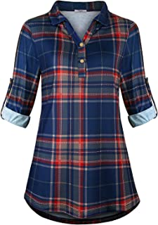 Women's Collared Roll-Up 3/4 Sleeve Casual Loose Lightweight Knit Polo Plaid Shirt