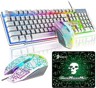 ゲーミングキーボード マウス セット 高耐久 RGB 多種ライトモード USB有線 防水多機能 マルチメディアキー 2400DPI調整 6つのボタンマウス パッド付き PS4、switchスイッチ、任天堂対応でき(ホワイトRGB)