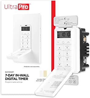 UltraPro Daysmart 7-Day In-Wall Digital Timer Switch, Presets/Countdown, Programmable Settings, Override, Sunrise/Sunset, ...