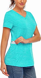 Kimmery Workout Tops for Women Short Sleeve V Neck Athletic Shirts with Side Pocket