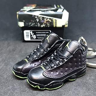 Pair Air Jordan XIII 13 Retro Altitude Black Green OG Sneakers Shoes 3D Keychain 1:6 Figure + Shoe Box