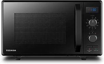 Toshiba MW2-AG23P(BK) Horno de microondas con grill y cocción combinada, 23 L, 8 menús fáciles, plato giratorio con memoria de posición, 900 W, grill 1050 W, 48,5 x 40,3 x 29,6 cm, negro