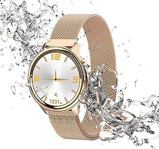 FMSBSC Reloj Inteligente para Mujeres con Termómetro De Temperatura Corporal, Pulsómetros Contador De Calorías Escalonado Monitor De Sueño, Pulsera Actividad Inteligente para Android iOS