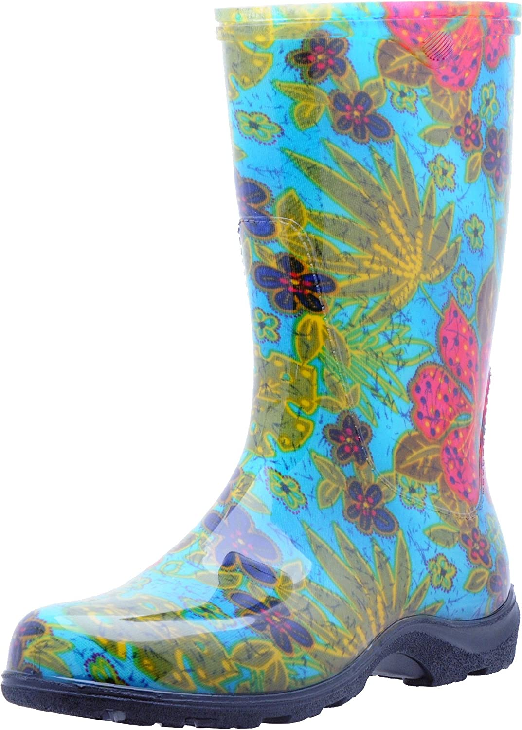 Principle Plastics Sloggers Women's Rain and Garden Boot with All-Day-Comfort Insole, Midsummer bluee Print-Wo's Size 7-Style 5002BL07