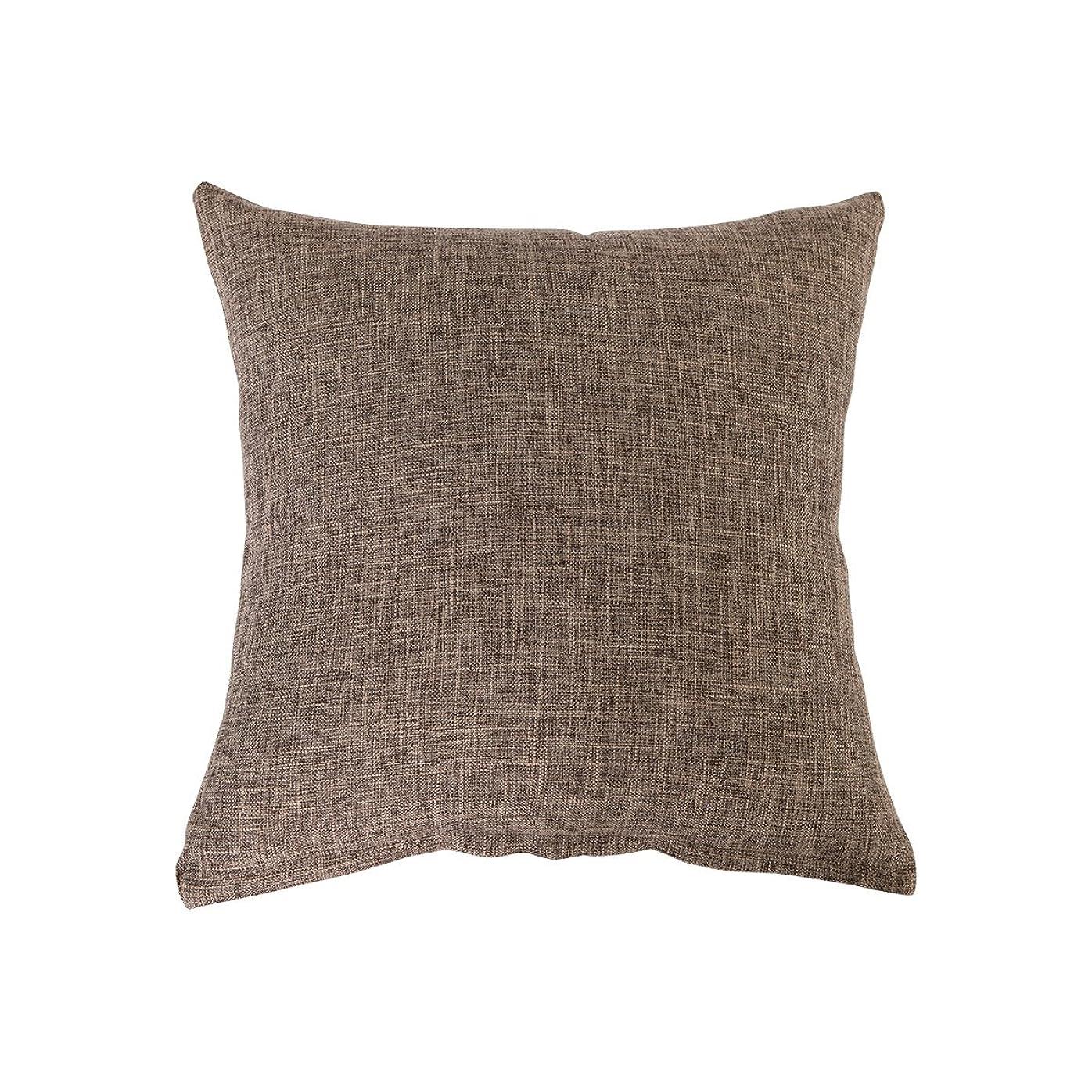 なる倫理豚クッションカバー ピロケース 枕カバー 綿麻 無地 45×45cm 抱き枕用 洗える クッション カバー (45×45cm, ブラウン)