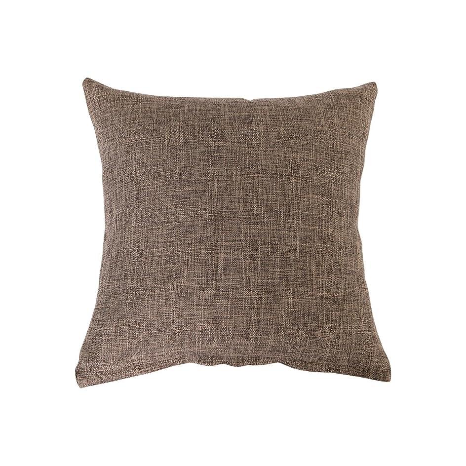 早熟エキスパート姉妹クッションカバー ピロケース 枕カバー 綿麻 無地 45×45cm 抱き枕用 洗える クッション カバー (45×45cm, ブラウン)