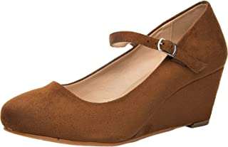 Women's Wide Width Wedge Shoes - Mary Jane Shoes w/Ankle Buckle Strap, Plus Size Heel Pump w/Round Closed Toe Rubber Sole Memory Foam Insole. (Tan 180108,10WW)