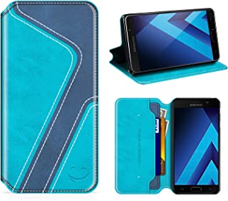 Smiley Samsung Galaxy A5 2017 Wallet Case, Mobesv Samsung A5 2017 Leather Case/Phone Flip Book Cover/Viewing Stand/Card Holder for Samsung Galaxy A5 (2017), Stylish Aqua/Dark Blue