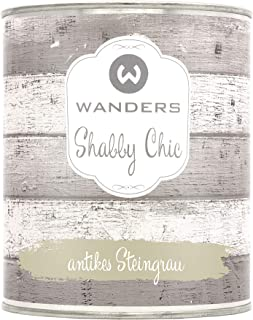 Wanders24 Shabby Chic 750 ml, antikes Steingrau Kreidefarbe für Shabby Chic - chalk paint - Vintage Farbe - Farbe für Holz - Made in Germany