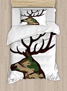 Antler Decor Duvet Cover Set by Ambesonne, Stag Deer Portrait with Camouflage Pattern Hunting Decor Hobby Mammal, 2 Piece Bedding Set with 1 Pillow Sham, Twin / Twin XL Size, Brown Cocoa Green